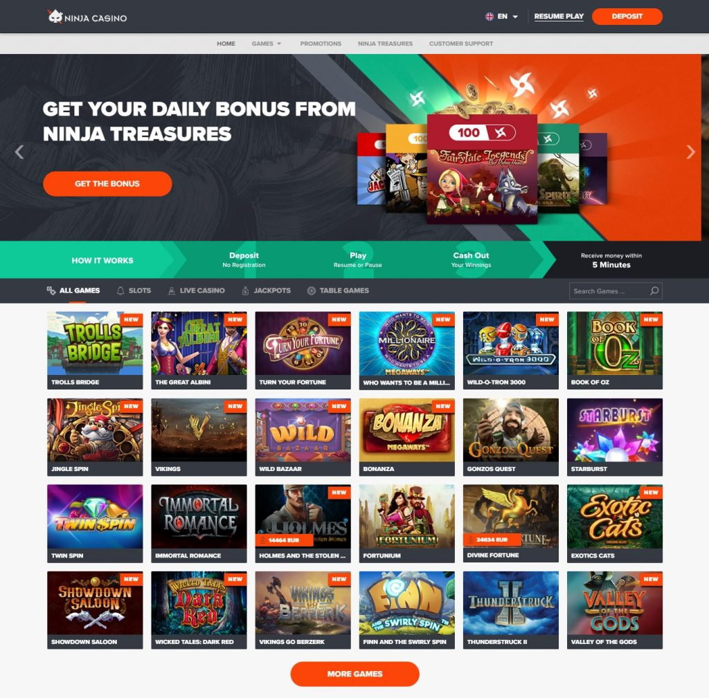 ninjacasino-homepage